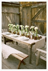 tulip, pine cones, barn inspired, rustic, outdoor wedding, tulips and pine cone centerpiece, winter