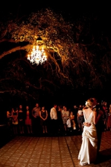 Reception Dance outdoors with chandelier, Templeton California, Shanni Weilert