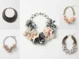 Anthropologie, bold statement necklaces, pink and grey