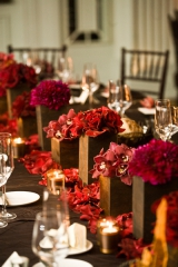 Brown and Magenta wedding centerpieces