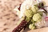 Hydrangea and orchid brown and white bouquet, Highland Terrace Inn, Carmel California, Bliss Wedding