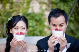 Bride and groom have Pinkberry at Wedding