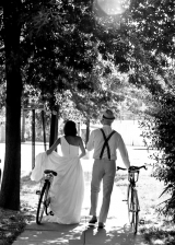 bride and groom on bikes, outdoor inspiration, rock the frock photo shoot, bike inspiration, one sho