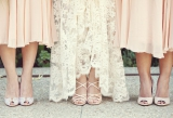 peach bridesmaids dresses, lace wedding dress