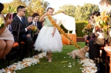 flower dog leash wedding, private estate wedding, pacific palisades california, Ira Lippke photograp