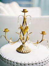 vintage regency gold crystal candle holder