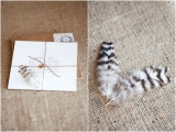 feather inspired wedding invitations