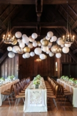 Minted's New Wedding Reception Decor Packages, botanical wreath theme, lanterns, gold, white, long t