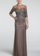 3/4 Sleeve Mesh Dress with Sequin Bodice