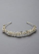 Bridal Headband with Crystals and Pearl Flowers