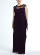 Cap Sleeve Long Jersey Dress with Beaded Neckline