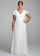 Long Chiffon A-Line Gown with Flutter Sleeves