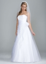 Long Organza Gown with Flower Detail at Waist