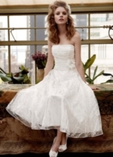 Short Printed Organza Gown with Floral Sash