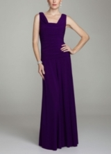 Sleevless Long Jersey Dress with Ruching
