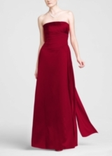 Strapless Satin A-line with Pleated Chiffon Bodice