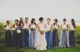 Southern weddings - blue and purple bridesmaid gowns