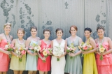 southern weddings colorful bridesmaids dresses