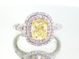 Canary Yellow Diamond Engagement Ring with Double Halo