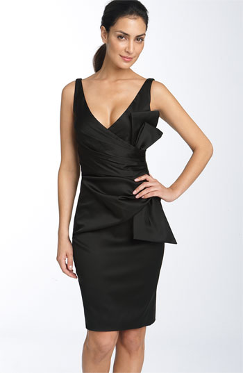 Maggy London Side Bow Stretch Satin Sheath Dress