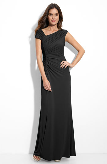 Calvin Klein Asymmetrical Ruched Jersey Gown