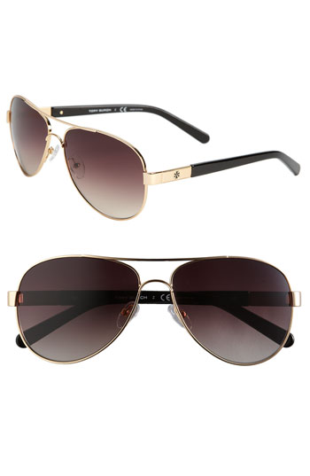 Tory Burch Metal Aviator Sunglasses with Resin Temples
