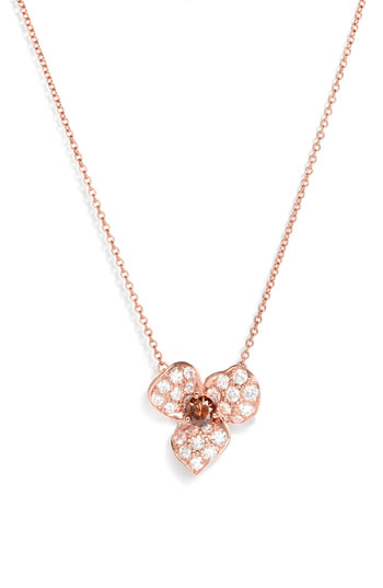 Kwiat Champagne Diamond Flower Pendant Necklace