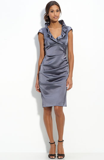 Xscape Ruffle Collar Stretch Satin Sheath Dress