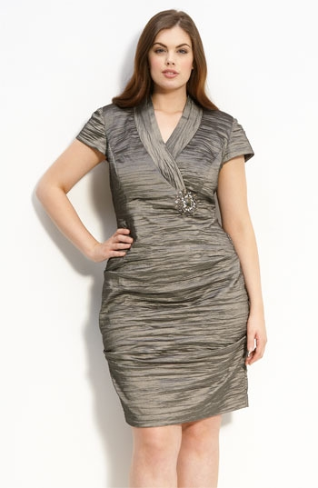 Alex Evenings Ruched Cap Sleeve Dress (Plus)