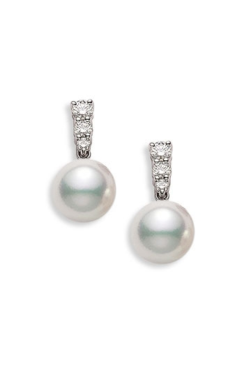 Mikimoto 'Morning Dew' Akoya Cultured Pearl & Diamond Earrings