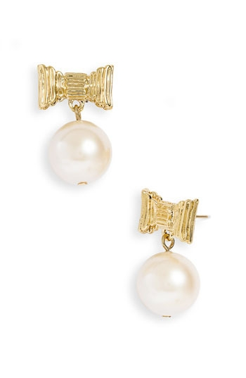 kate spade new york 'all wrapped up' glass pearl earrings