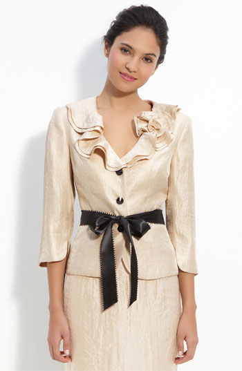 Adrianna Papell Shimmer Crepe Jacket
