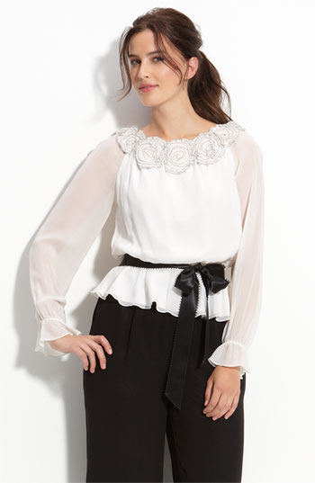 Adrianna Papell Rosette Trim Chiffon Blouse