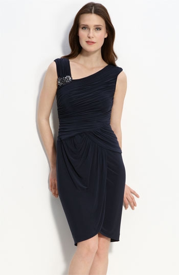 Adrianna Papell Crystal Brooch Ruched Jersey Dress