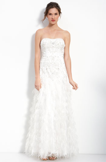 Sue Wong Beaded & Embroidered Strapless Gown with Ostrich Feathers