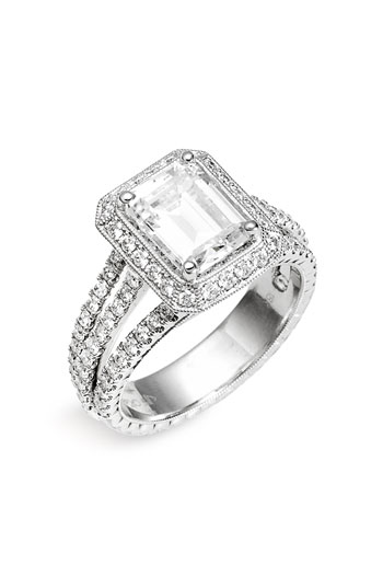 Jack Kelege 'Romance' Princess Cut Diamond Semi Mount Ring