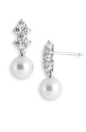 Mikimoto 'Classic Elegance' Akoya Cultured Pearl & Diamond Earrings
