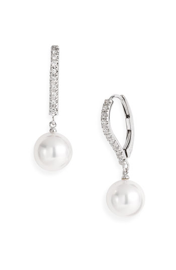 Mikimoto Diamond & Akoya Cultured Pearl Earrings