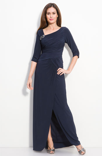 Adrianna Papell Jersey Gown with Jeweled Brooch