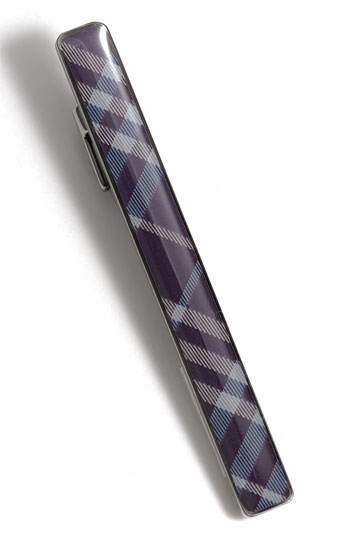 Burberry Enameled Check Tie Bar