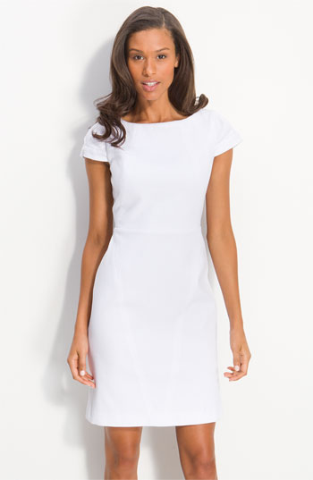 Calvin Klein Cap Sleeve Cotton Jacquard Dress