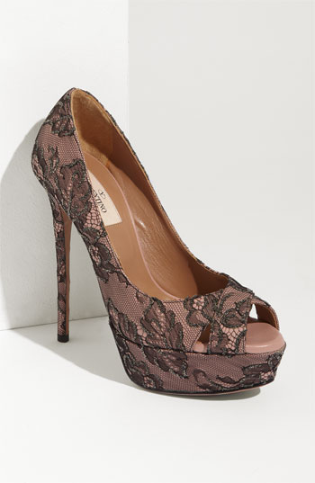 Valentino Crystal Lace Open Toe Pump