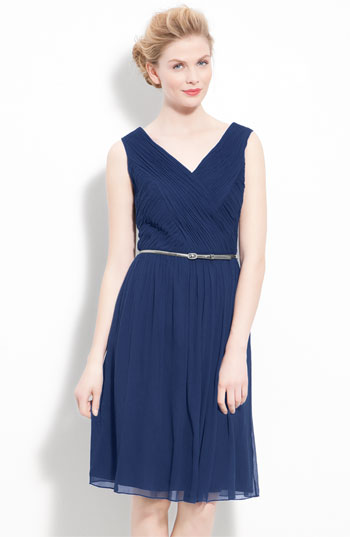 Donna Morgan Belted Ruched Chiffon Dress