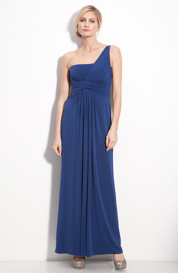 BCBGMAXAZRIA One Shoulder Jersey Gown