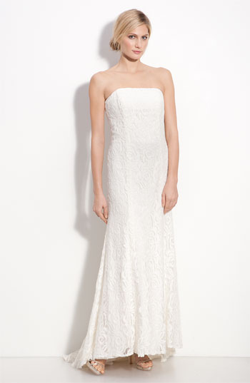 Dessy Collection Lace Overlay Strapless Gown