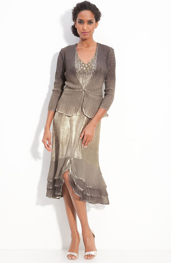 Komarov Pleated Satin & Chiffon Dress with Jacket