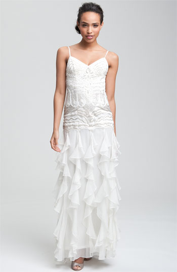 Sue Wong Embellished Ruffle Skirt Gown