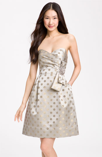 Eliza J Embellished Metallic Satin Strapless Dress