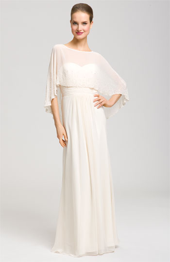 Aidan Mattox Sweetheart Gown & Beaded Cape