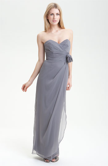 Lela Rose Bridesmaid Crinkle Chiffon Strapless Gown